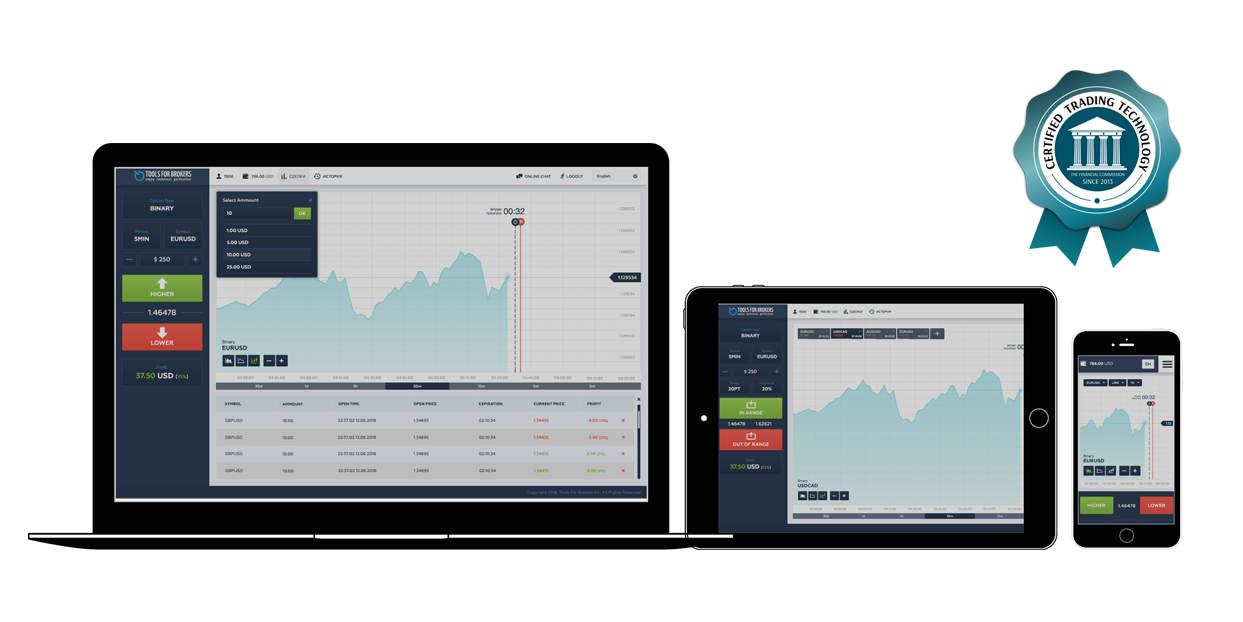 Interface of the T4B Binary Options Platform.