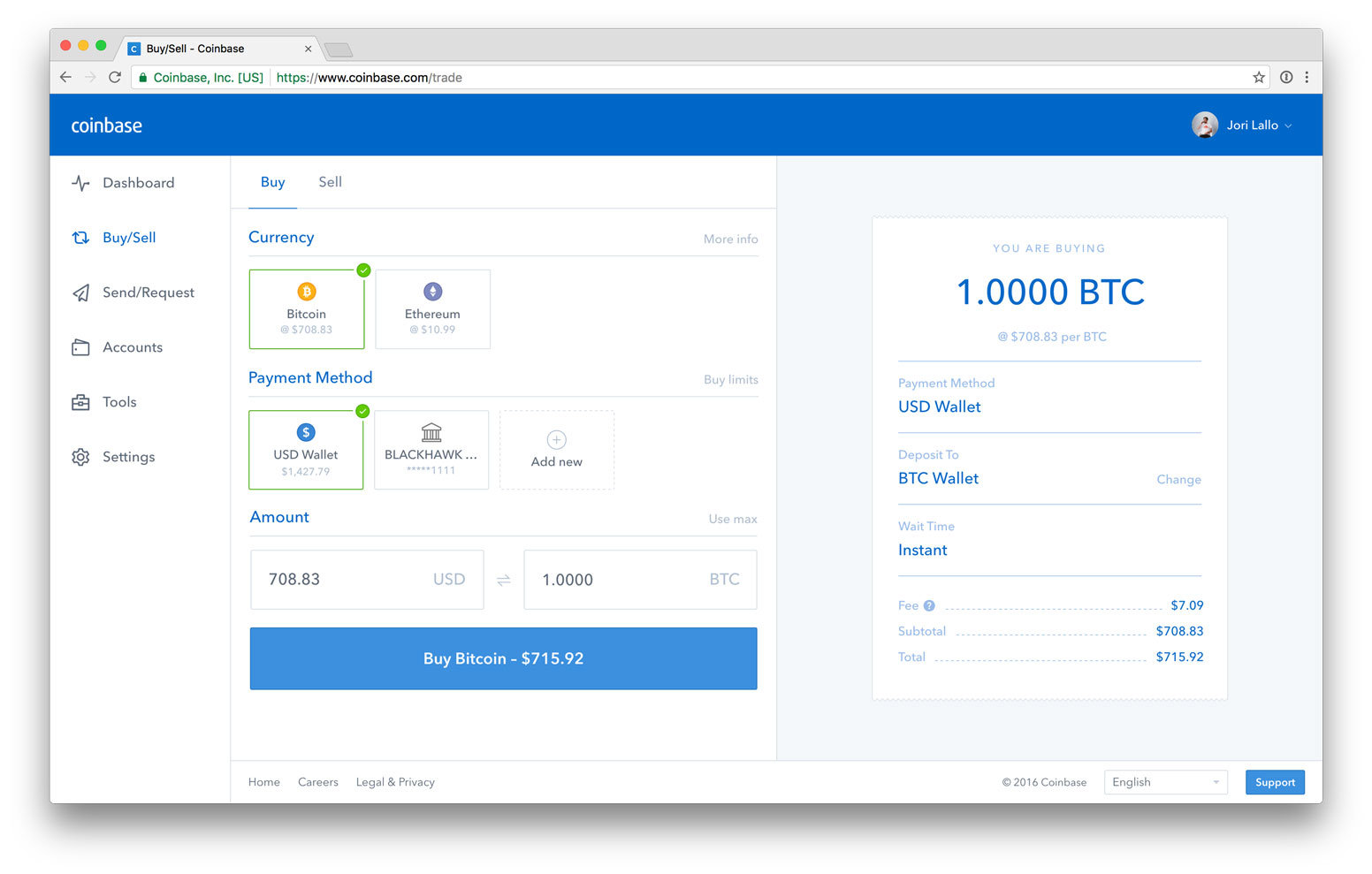 New Coinbase buy/sell page