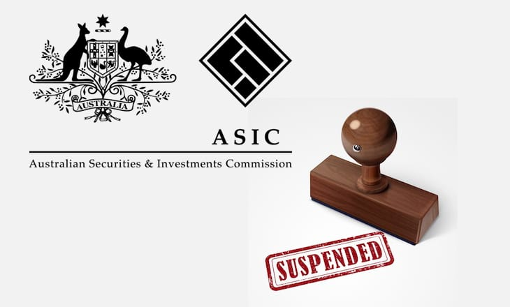 ASIC license suspended