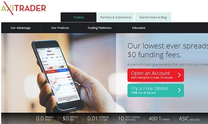 AxiTrader website
