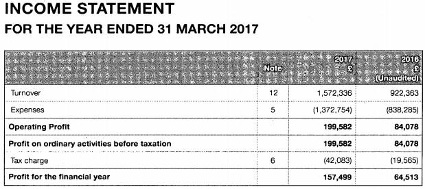 MahiFX 2017 income statement