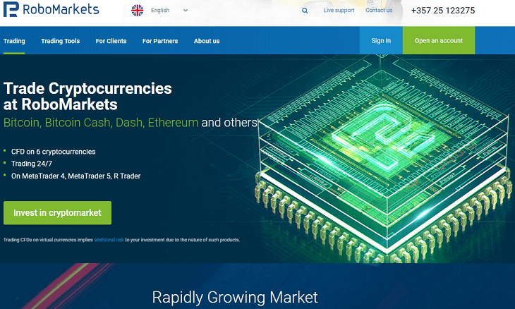 RoboMarkets crypto trading