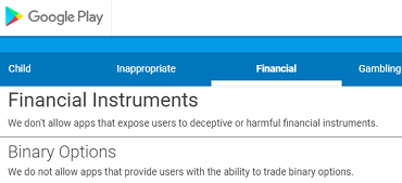 Google play binary options app ban