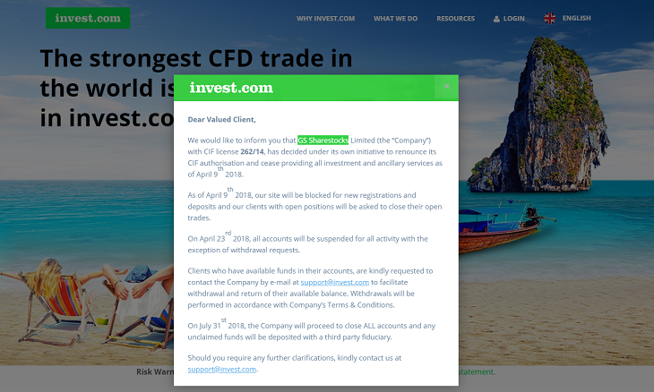 invest.com renounce cysec license