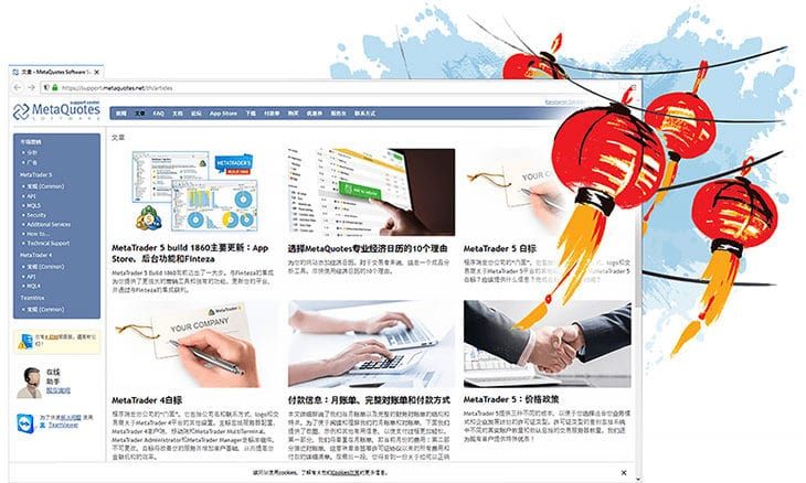 Technical support website for MetaTrader platforms now available in Chinese