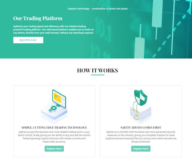 AlphaLive trading platform