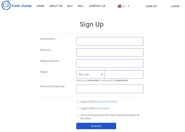 CoinJump registration
