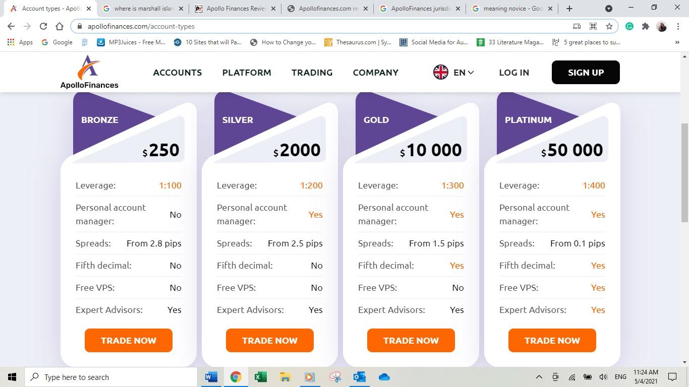 Apollo Finances Account Types