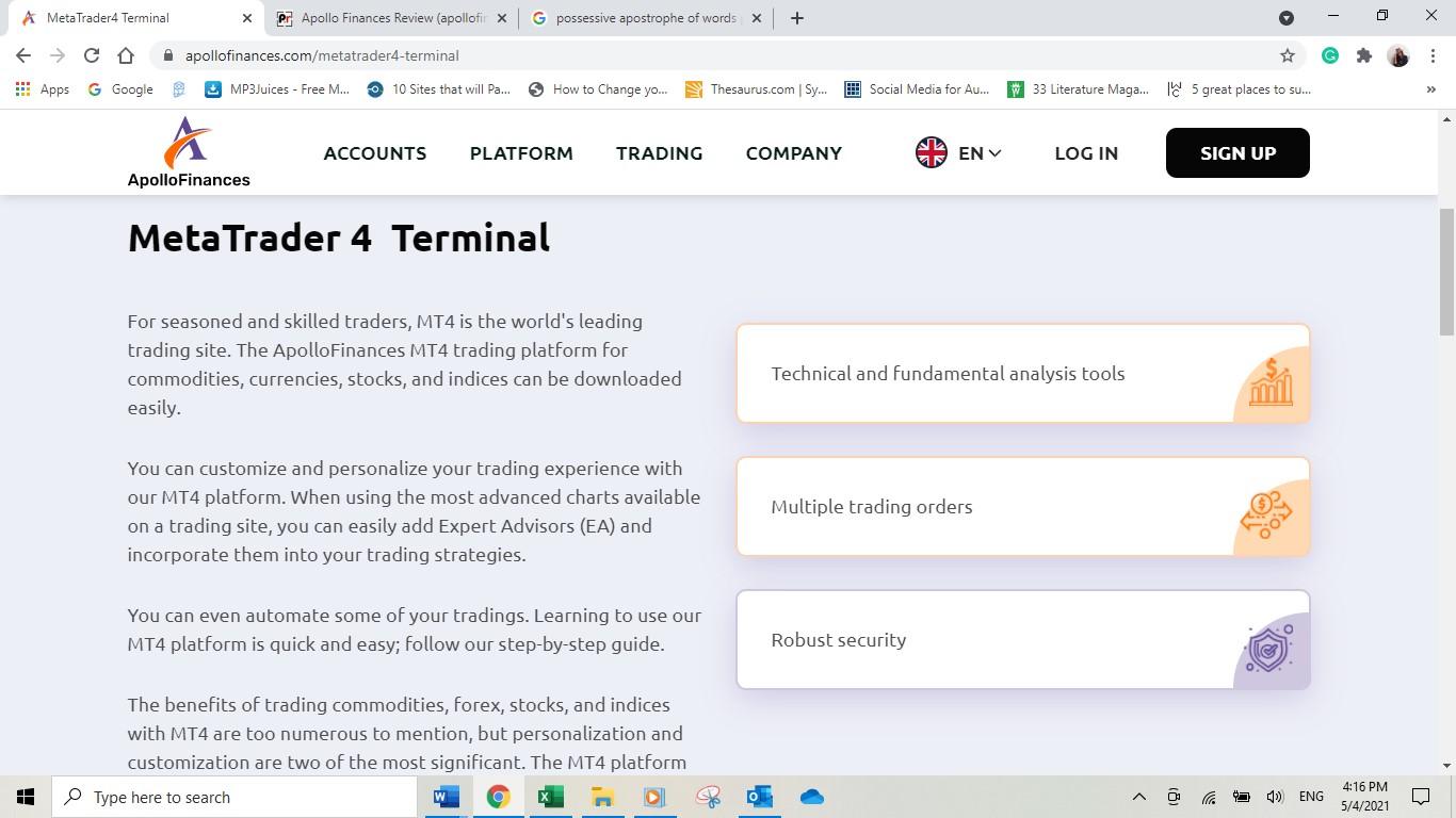 Apollo Finances MetaTrader 4 Terminal